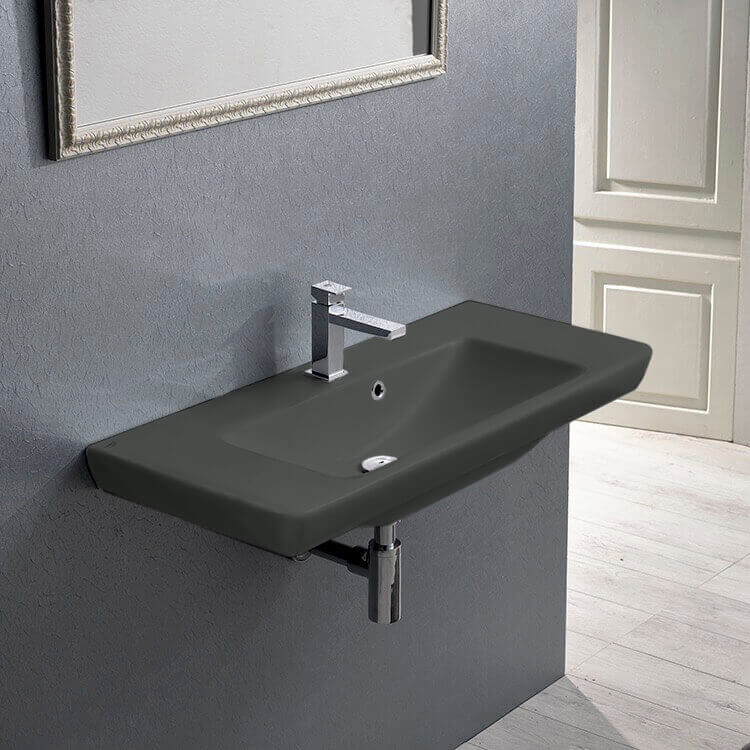 Bathroom Sink, CeraStyle 068309-U-97-One Hole, Rectangular Matte Black Ceramic Wall Mounted or Drop In Sink