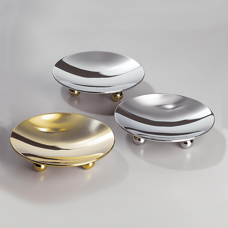 Soap Dish, Windisch 93106D-CRO, Round Contemporary Chrome And Gold Finish Countertop Soap Dish