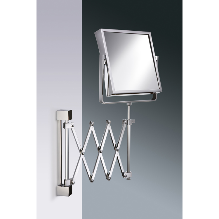 Makeup Mirror, Windisch 99348-CR-3x, Square Wall Mounted Extendable 3x or 5x Brass Magnifying Mirror