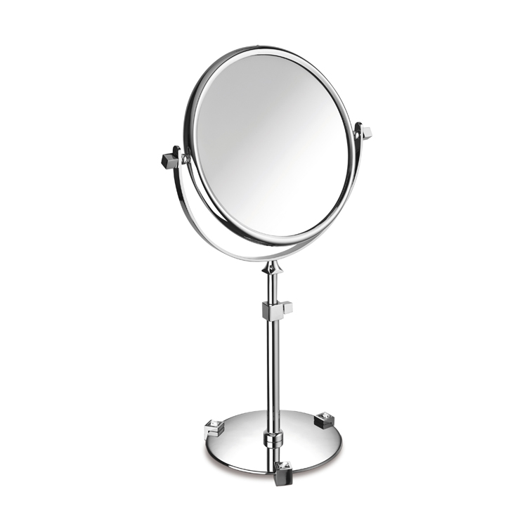 Makeup Mirror, Windisch 99526B-CR-3x, Chrome or Gold Pedestal Double Face with White Crystals 3x or 5x Magnifying Mirror