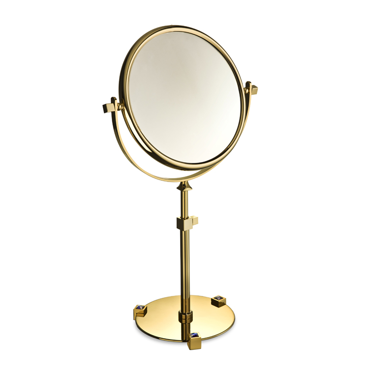 Makeup Mirror, Windisch 99526A-CR-3x, Chrome or Gold Pedestal Double Face with Blue Crystals 3x or 5x Magnifying Mirror