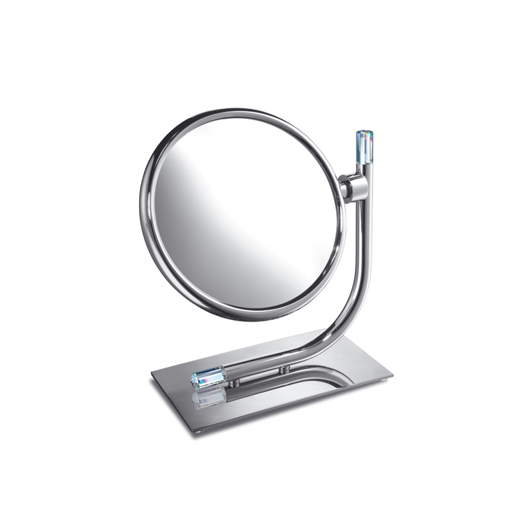 Makeup Mirror, Windisch 99636-CR-3x, Brass Double Face 3x or 5x Magnifying Mirror with Swarovski Crystal