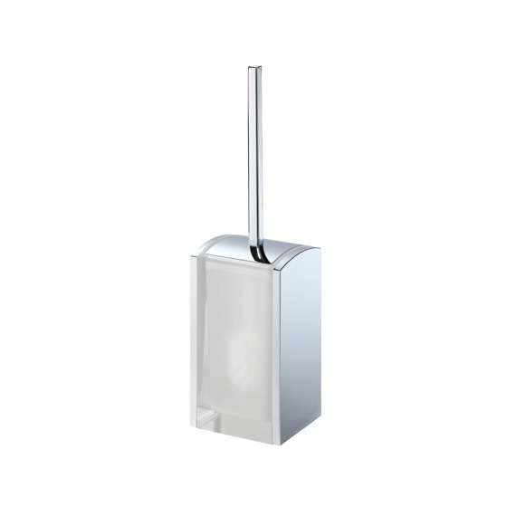 Toilet Brush, Gedy 1133-00, Transparent and Chrome Thermoplastic Resins Rectangle Toilet Brush Holder