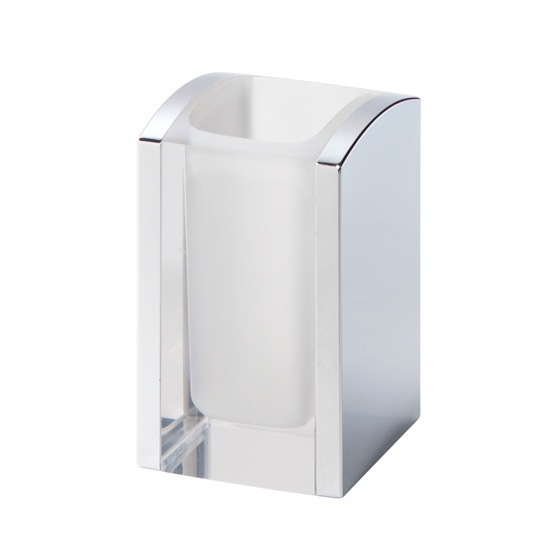 Toothbrush Holder, Gedy 1198-00, Transparent and Chrome Thermoplastic Resins Square Toothbrush Holder