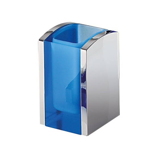 Toothbrush Holder, Gedy 1198-05, Blue and Chrome Thermoplastic Resins Square Toothbrush Holder