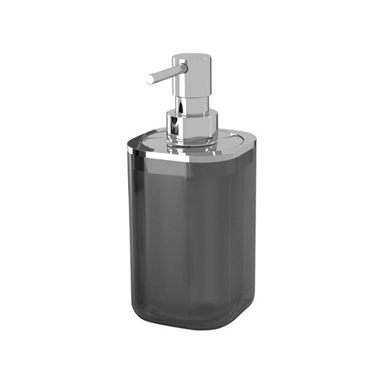 Soap Dispenser, Gedy 1455-57, Anthracite and Chrome Square Soap Dispenser