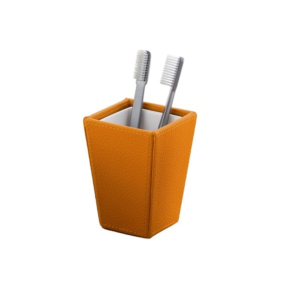 Toothbrush Holder, Gedy 1510-67, Square Orange Faux Leather Toothbrush Holder