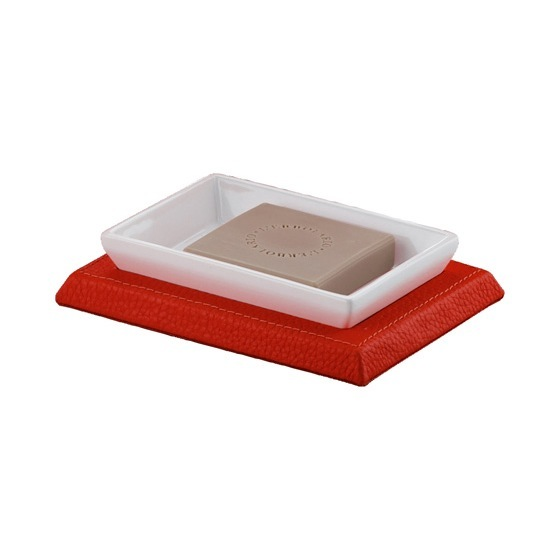 Soap Dish, Gedy 1511-06, Rectangle Red Faux Leather Soap Holder
