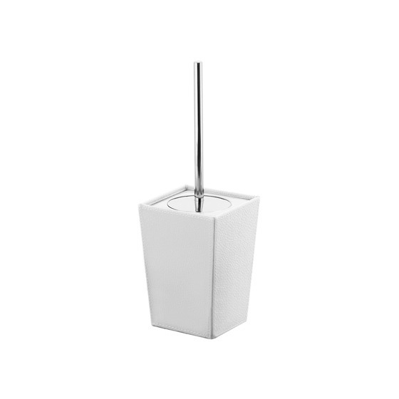 Toilet Brush, Gedy 1533-02, Square White Faux Leather and Ceramic Toilet Brush Holder