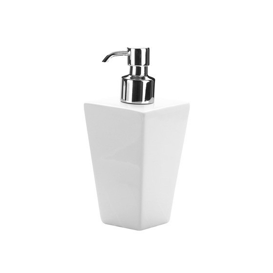 Soap Dispenser, Gedy 1681-02, Square White Pottery Soap Dispenser