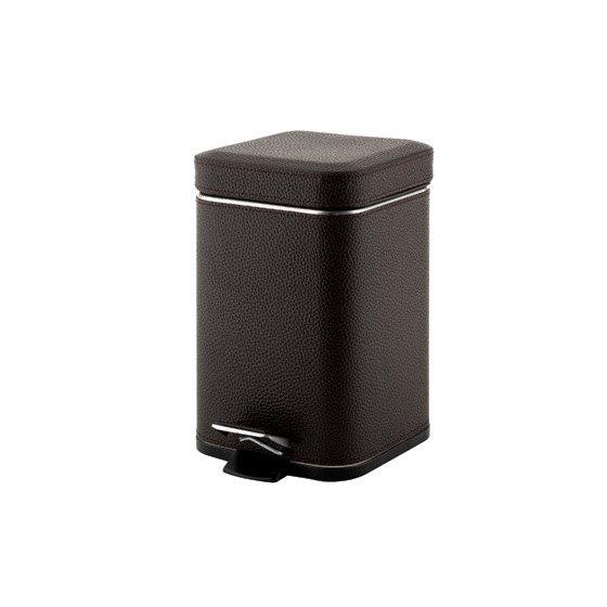 Waste Basket, Gedy 2209-19, Square Wenge Waste Bin With Pedal