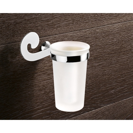 Toothbrush Holder, Gedy 3310-13, Wall Mounted Frosted Glass Toothbrush Holder With Chrome Mounting