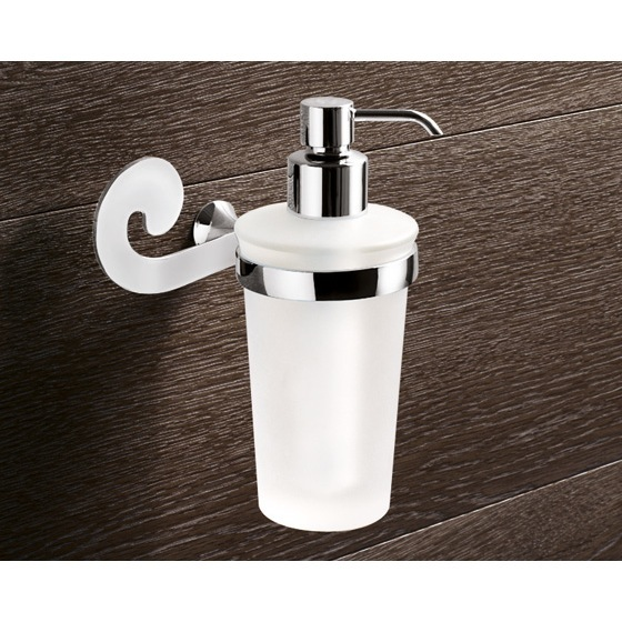 Soap Dispenser, Gedy 3381-13, Wall Mounted Round Frosted Glass Soap Dispenser With Chrome Mounting