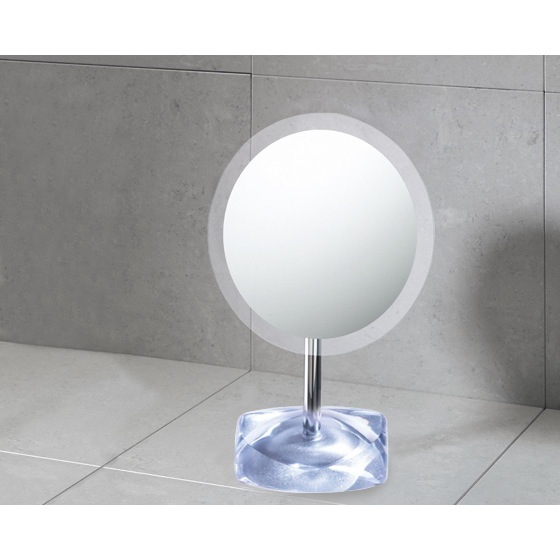 Makeup Mirror, Gedy 4607-73, Magnifying Mirror with Round Silver Colored Base