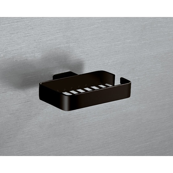 Shower Soap Holder, Gedy 5412-M4, Wall Mounted Square Matte Black Wire Soap Holder