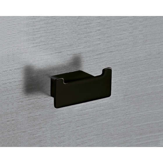 Bathroom Hook, Gedy 5426-M4, Square Matte Black Double Hook