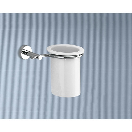 Toothbrush Holder, Gedy 6510-13, Wall Mounted Porcelain Toothbrush Holder With Chrome Mounting