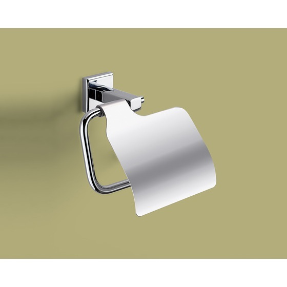 Toilet Paper Holder, Gedy 6925-13, Polished Chrome Toilet Roll Holder With Cover