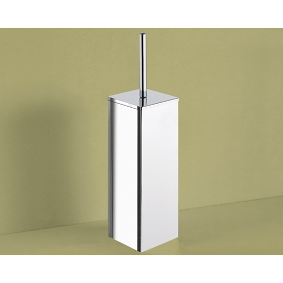 Toilet Brush, Gedy 6933-13, Square Polished Chrome Toilet Brush Holder