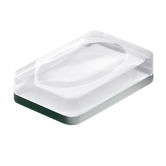 Soap Dish, Gedy 7311-00, Transparent Rectangle Countertop Soap Dish