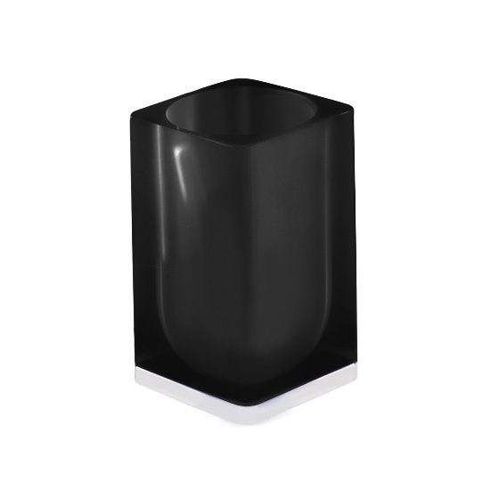 Toothbrush Holder, Gedy 7398-85, Black Square Toothbrush Holder