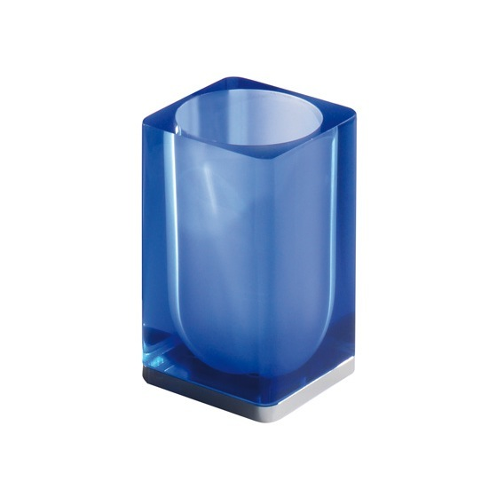 Toothbrush Holder, Gedy 7398-05, Blue Square Toothbrush Holder