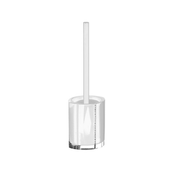 Toilet Brush, Gedy 7433-02, White Toilet Brush Holder with Crystals