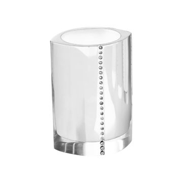 Toothbrush Holder, Gedy 7498-02, White Toothbrush Holder With Crystals