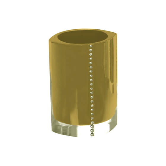 Toothbrush Holder, Gedy 7498-87, Gold Toothbrush Holder With Crystals
