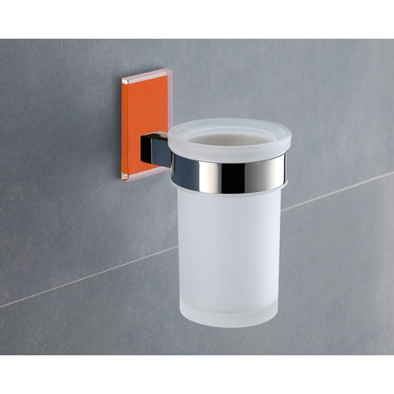 Toothbrush Holder, Gedy 7810-67, Wall Mounted Frosted Glass Toothbrush Holder With Orange Mounting