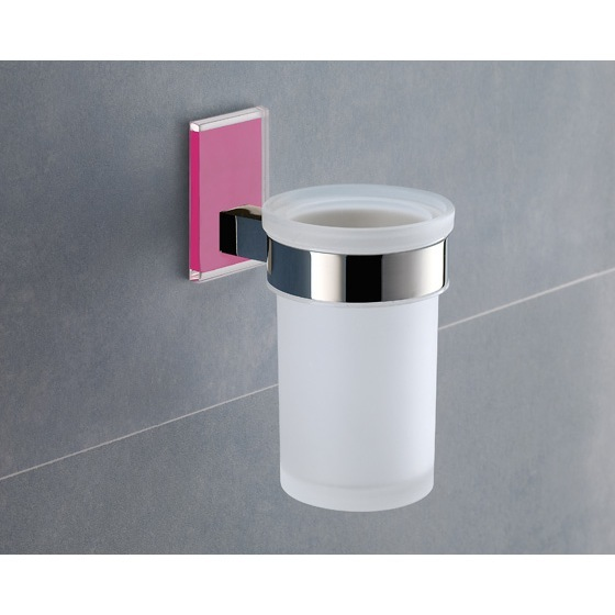 Toothbrush Holder, Gedy 7810-76, Wall Mounted Frosted Glass Toothbrush Holder With Pink Mounting