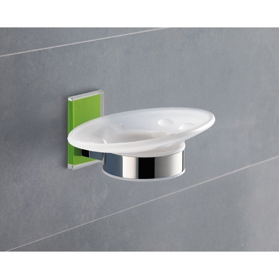 Soap Dish, Gedy 7811-04, Wall Mounted Round Frosted Glass Soap Dish With Green Mounting