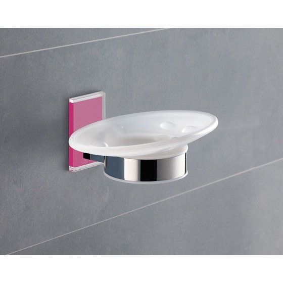 Soap Dish, Gedy 7811-76, Wall Mounted Round Frosted Glass Soap Dish With Pink Mounting