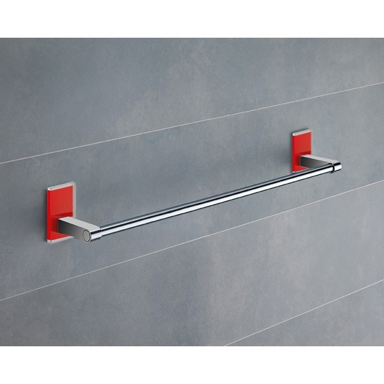 Towel Bar, Gedy 7821-45-06, 18 Inch Red Mounting Polished Chrome Towel Bar