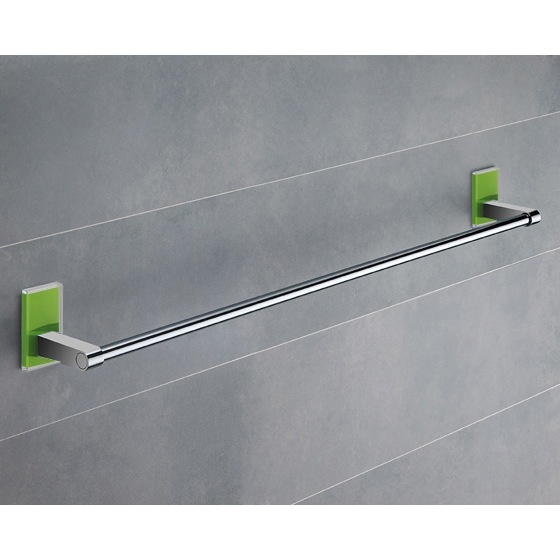 Towel Bar, Gedy 7821-60-04, 24 Inch Green Mounting Polished Chrome Towel Bar