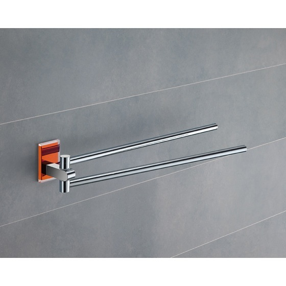 Swivel Towel Bar, Gedy 7823-67, 14 Inch Polished Chrome Swivel Towel Bar With Orange Mounting