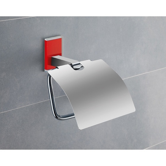 Toilet Paper Holder, Gedy 7825-06, Chromed Brass Covered Toilet Roll Holder With Red Mounting