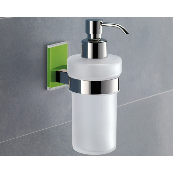 Soap Dispenser, Gedy 7881-04, Frosted Glass Soap Dispenser With Green Mounting