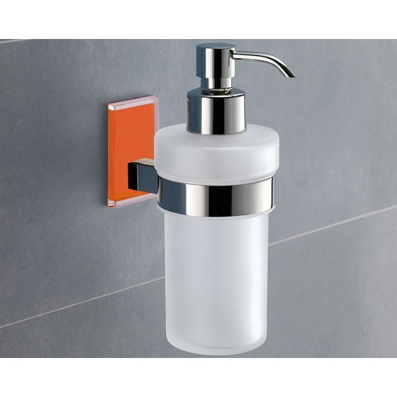 Soap Dispenser, Gedy 7881-67, Frosted Glass Soap Dispenser With Orange Mounting