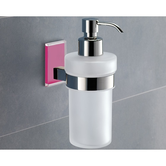 Soap Dispenser, Gedy 7881-76, Wall Mounted Frosted Glass Soap Dispenser With Pink Mounting