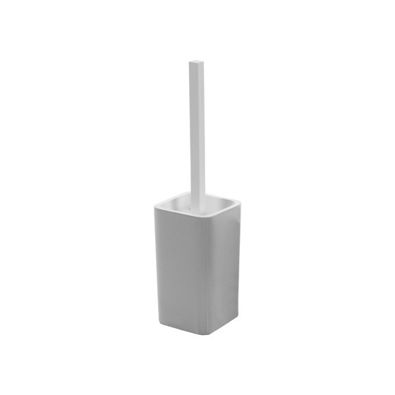 Toilet Brush, Gedy 7933-73, Contemporary Silver Finish Toilet Brush Holder