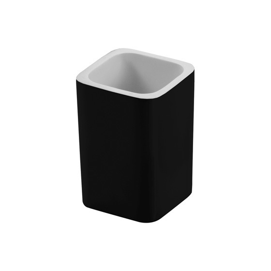 Toothbrush Holder, Gedy 7998-14, Square Black Toothbrush Holder