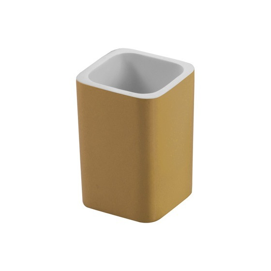Toothbrush Holder, Gedy 7998-87, Square Gold Toothbrush Holder