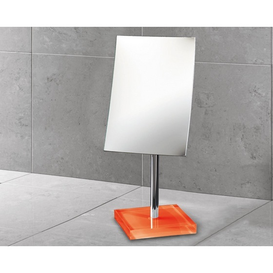Makeup Mirror, Gedy RA2018-67, Square Magnifying Mirror with Orange Base