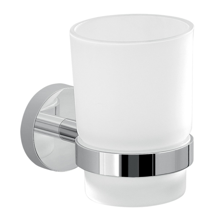 Toothbrush Holder, Gedy 2310-13, Frosted Glass Toothbrush Holder With Chrome Wall Mount