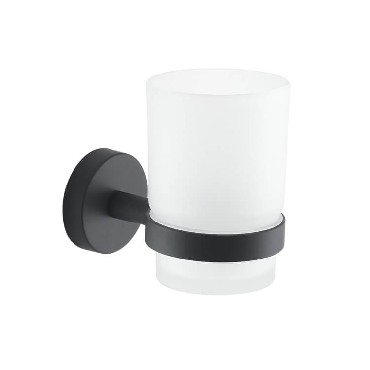 Toothbrush Holder, Gedy 2310-14, Frosted Glass Toothbrush Holder With Matte Black Wall Mount