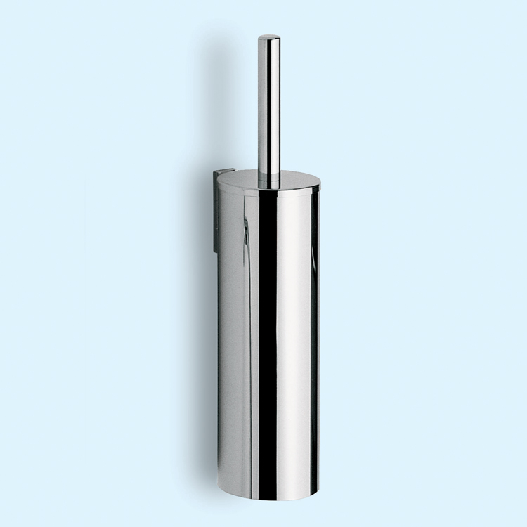 Toilet Brush, Gedy 2433-03-13, Cylindric Chrome Wall Mounted Toilet Brush Holder