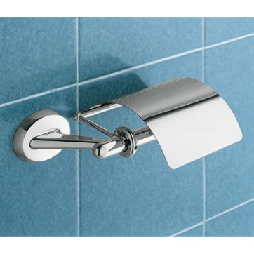 Toilet Paper Holder, Gedy 3025-13, Classic Chrome Toilet Roll Holder With Cover
