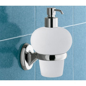 Soap Dispenser, Gedy 3081-13, Wall Mounted Bubble Shaped Glass Soap Dispenser with Chrome Mounting