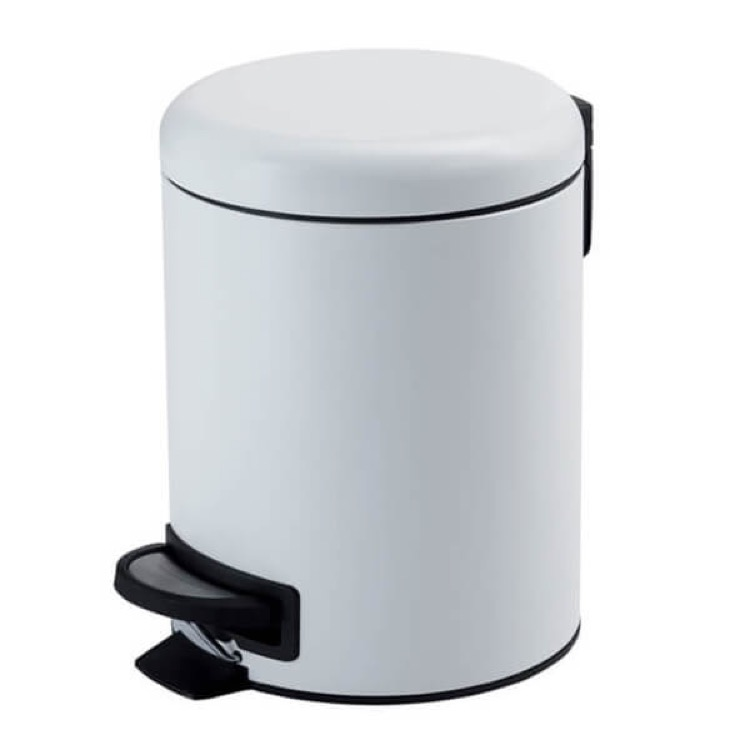 Waste Basket, Gedy 3209-02, Matte White Floor Standing Stainless Steel Waste Basket